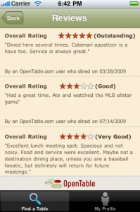 OpenTable iPhone reviews