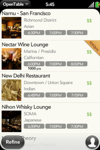 palm pre6 It's Here: OpenTable Mobile App for the Palm Pre