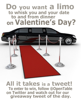 OpenTable Valentines Day Twitter Limo Giveaway1 Valentines Day Limo Twitter Giveaway: Follow @OpenTable for a Chance to Win