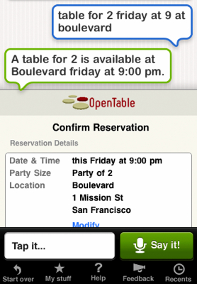 Siri on OpenTable Mobile Siri Personal Assistant: A Voice App That Lets You Speak to OpenTable