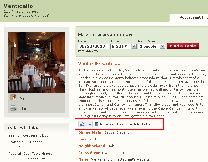 Facebook Like Button Like Your Favorite Restaurants on OpenTable With Facebook