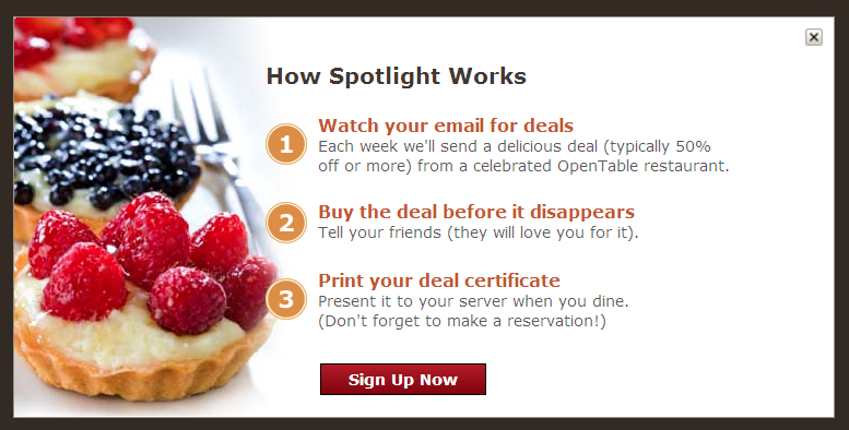 OpenTable Spotlight Introducing OpenTable Spotlight™: Delicious Deals on Meals