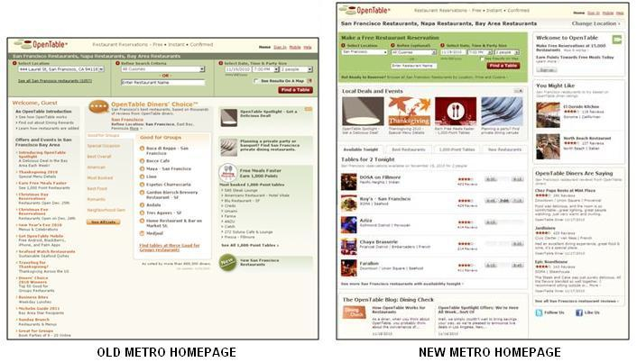 start OpenTable Introduces New Metro Home Page with Improved Features
