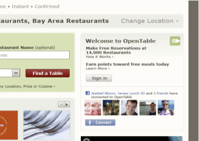FBConnect OpenTable and Facebook: Two Great Tastes That Taste Great Together