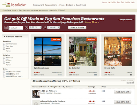 Savored Savored Launches Partnership with OpenTable; San Francisco Is Premiere City