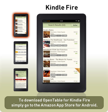 Opentable Introduces Free Mobile App For Kindle Fire