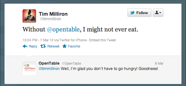 Tweet of the Week 030912 Tweet of the Week: OpenTable Is Helping Diners Eat!