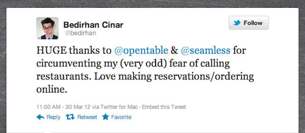 TweetoftheWeek 033012 Tweet of the Week: OpenTable Helps Diners with Phone a Phobia