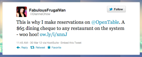 Tweet of the Week 040612 Tweet of the Week: A Diner Finds OpenTable Reservations Very Rewarding