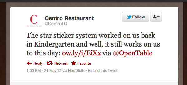 Tweet of the Week 052512 Tweet of the Week: Torontos Centro Restaurant Is Seeing Stars!