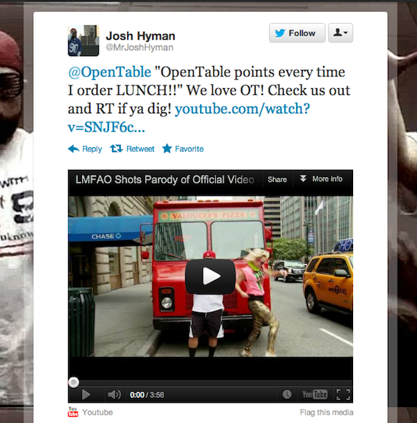 Tweet of the Week 062212 Tweet of the Week: OpenTable Points Every Time I Order Lunch!