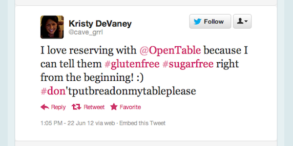 Tweet of the Week 062912 Tweet of the Week: Practicing the Paleo Diet with OpenTable