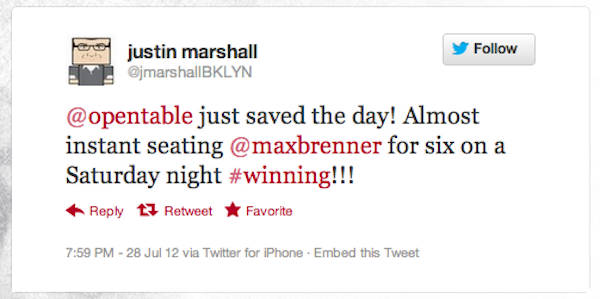 Tweet of the Week 080312 Tweet of the Week: Saving the Day    and Dinner    One Reservation at a Time!