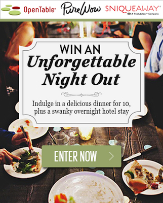 OTPureWowSnique Win an Unforgettable Night Out: Dinner for 10    Plus $1,000 Hotel Credit!
