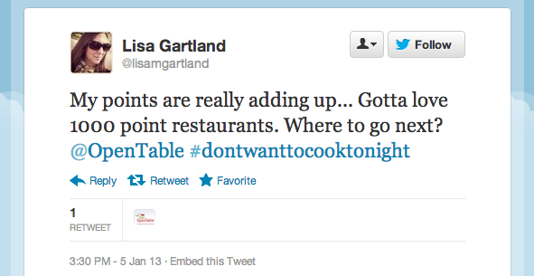 Tweet of the Week 011113 Tweet of the Week: 1,000 Point Reservations Help You Earn Free Meals Faster!