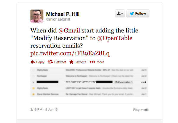 tweet of the week 060713 Tweet of the Week: Modify Your Reservation Right from Your Gmail