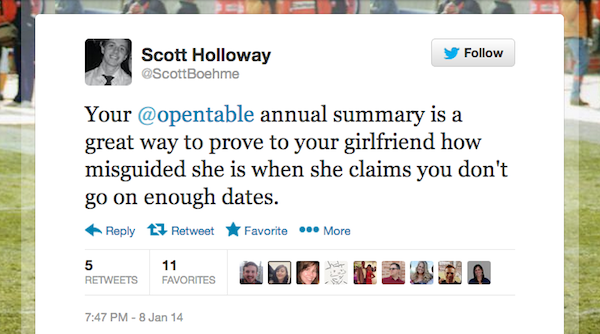 Screen shot 2014 01 10 at 6.39.01 PM Tweet of the Week: The Proof Is in Your OpenTable 2013 Dining Year in Review