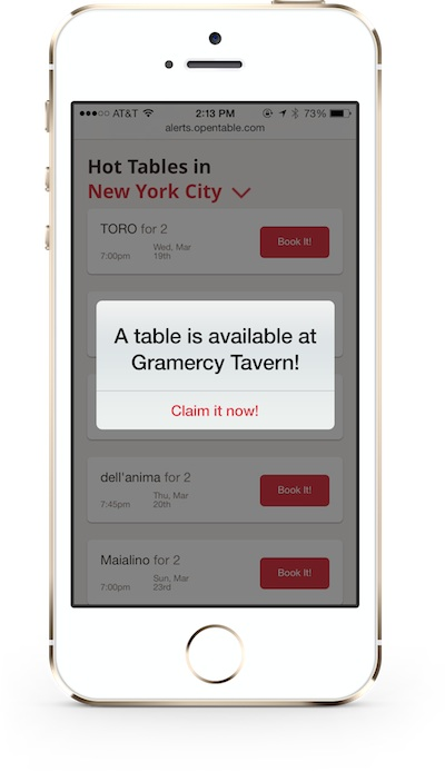 Hot Tables blog1 OpenTable Hot Tables: Pilot Program Introduces Mobile Alerts for Highly Sought After Reservations