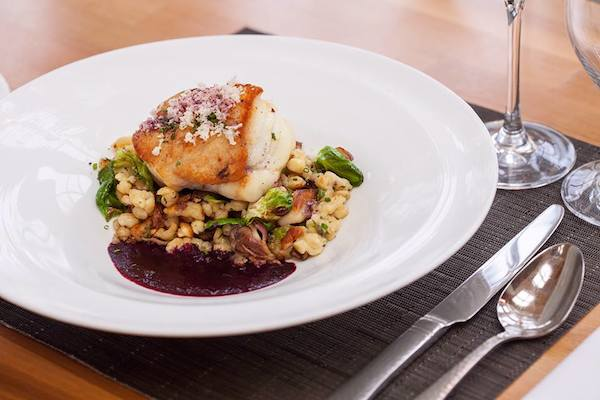 Blog Trummer's On Main Monkfish dish with kasespatzle, oyster mushrooms, red cabbage, horseradish & concord grape sauce copy