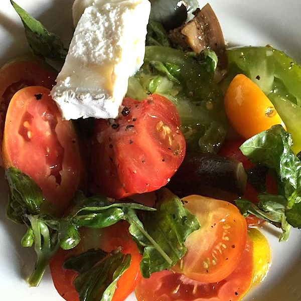 Blog heirloom West Bank heirloom tomato salad, spanish goat cheese & marinated eggplant copy