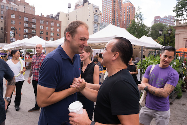 File this one under 'Great New York Moments': Chef Daniel Humm bumps into chef Jean-Georges Vongerichten, who was browsing the market over his morning coffee.