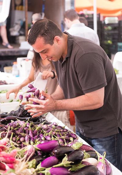 True story: Chef Eli Kaimeh went straight for the gorgeous fairytale eggplant.
