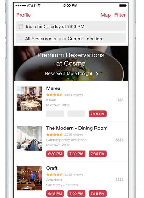 Now Testing: Premium Reservations in NYC