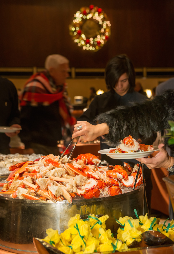 "The seafood station with snow crab, shrimp, and lobster claws + tails is particularly popular, according to Assistant Chef de Cuisine Stephen McDowell. ""We get 700 pounds of live lobster that we cut, clean, and break down each week!"""