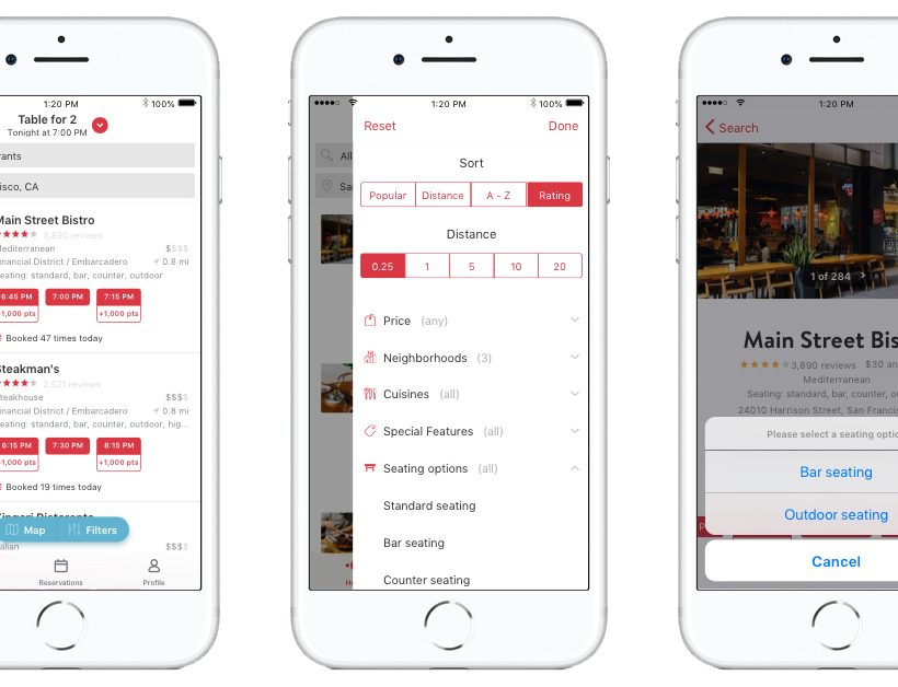 OpenTable Seating Options