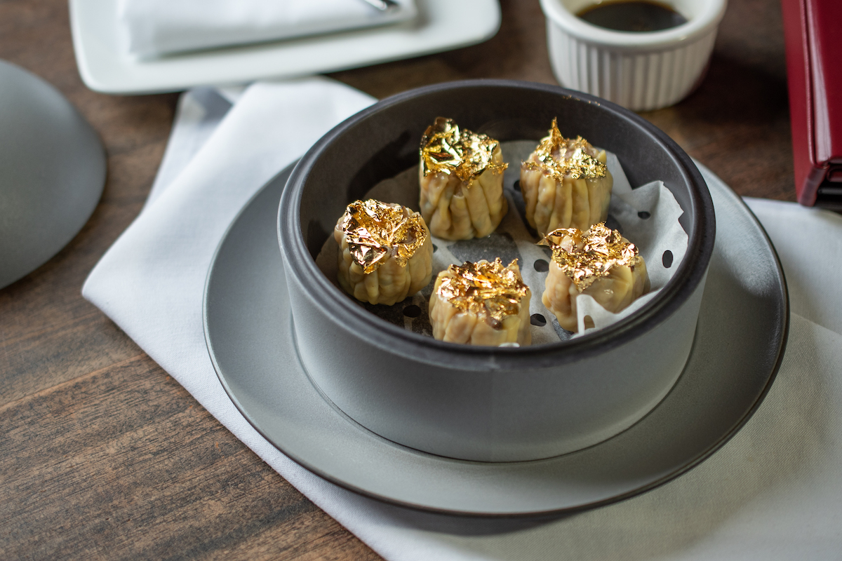 dishes with edible gold