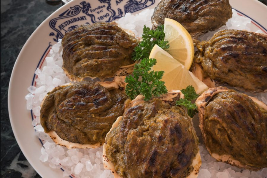 Oysters Rockefeller on a plate