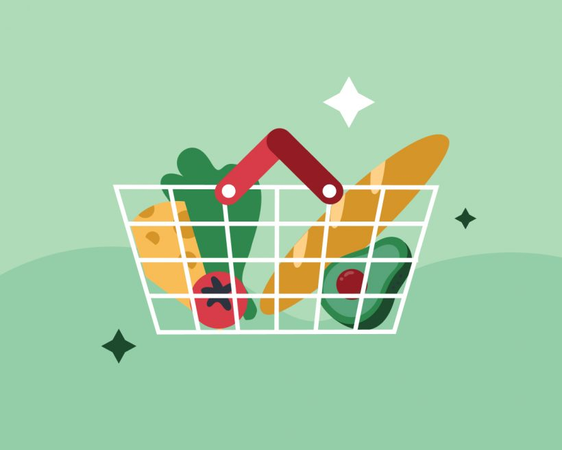 An illustration of groceries in a basket