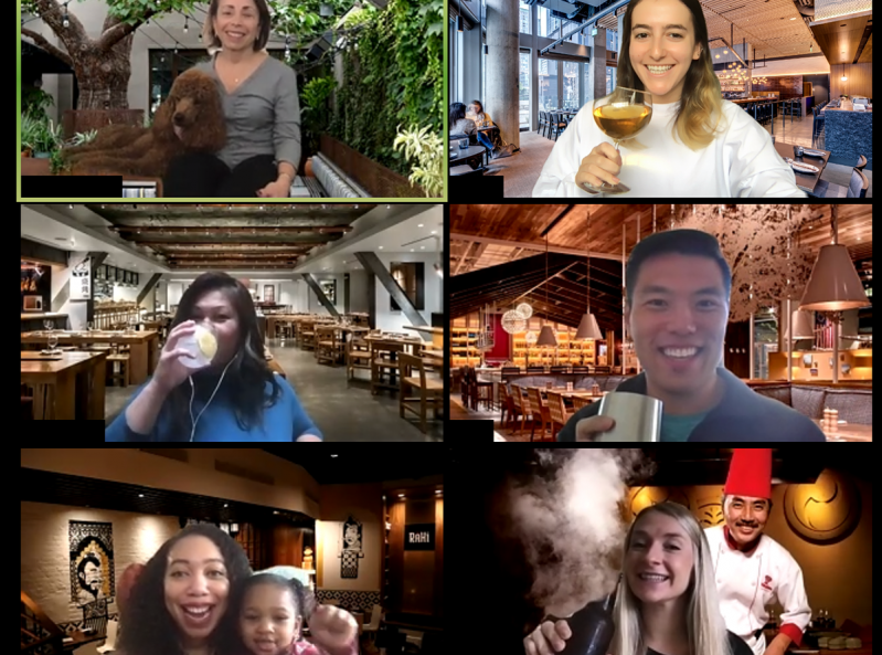 People on a Zoom chat with various restaurant backgrounds