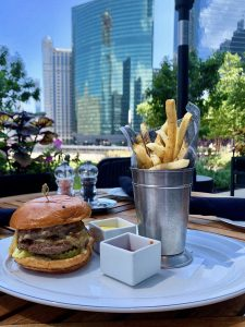 A burger and fries with the Chicago skyline in the background