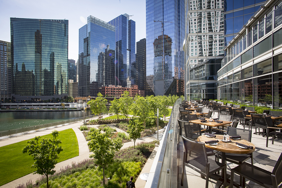 Outdoor seating overlooking the Chicago skyline