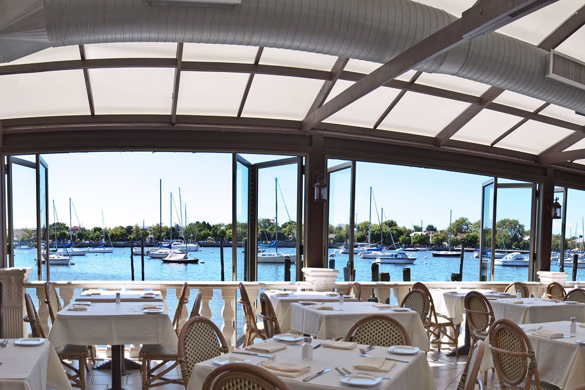 The patio overlooking the Atlantic Ocean at Il Fornetto