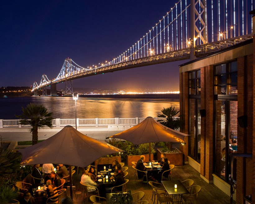 Tables overlooking the Bay Bridge