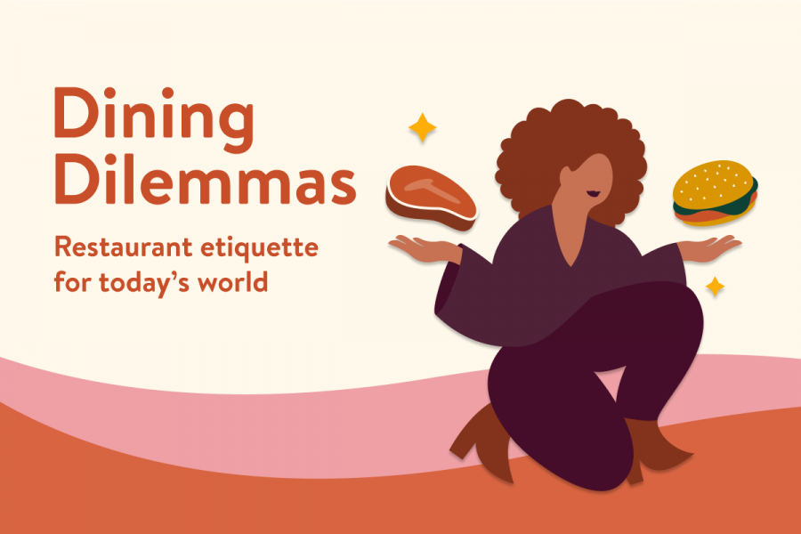 An illustration of a woman juggling a steak and a burger