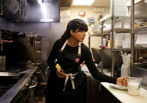 Chef Cheetie Kumar in her restaurant kitchen