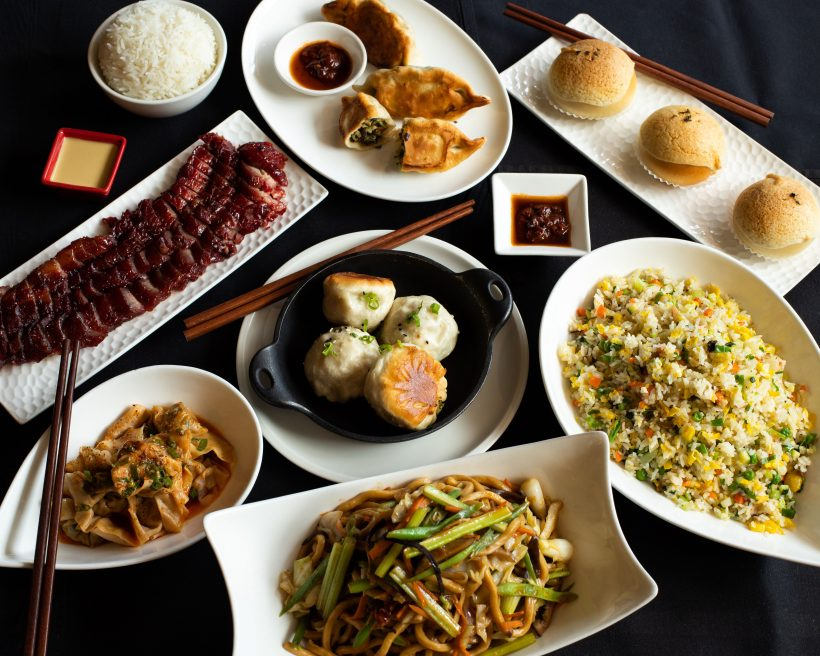 An assortment of Chinese dishes on a table.