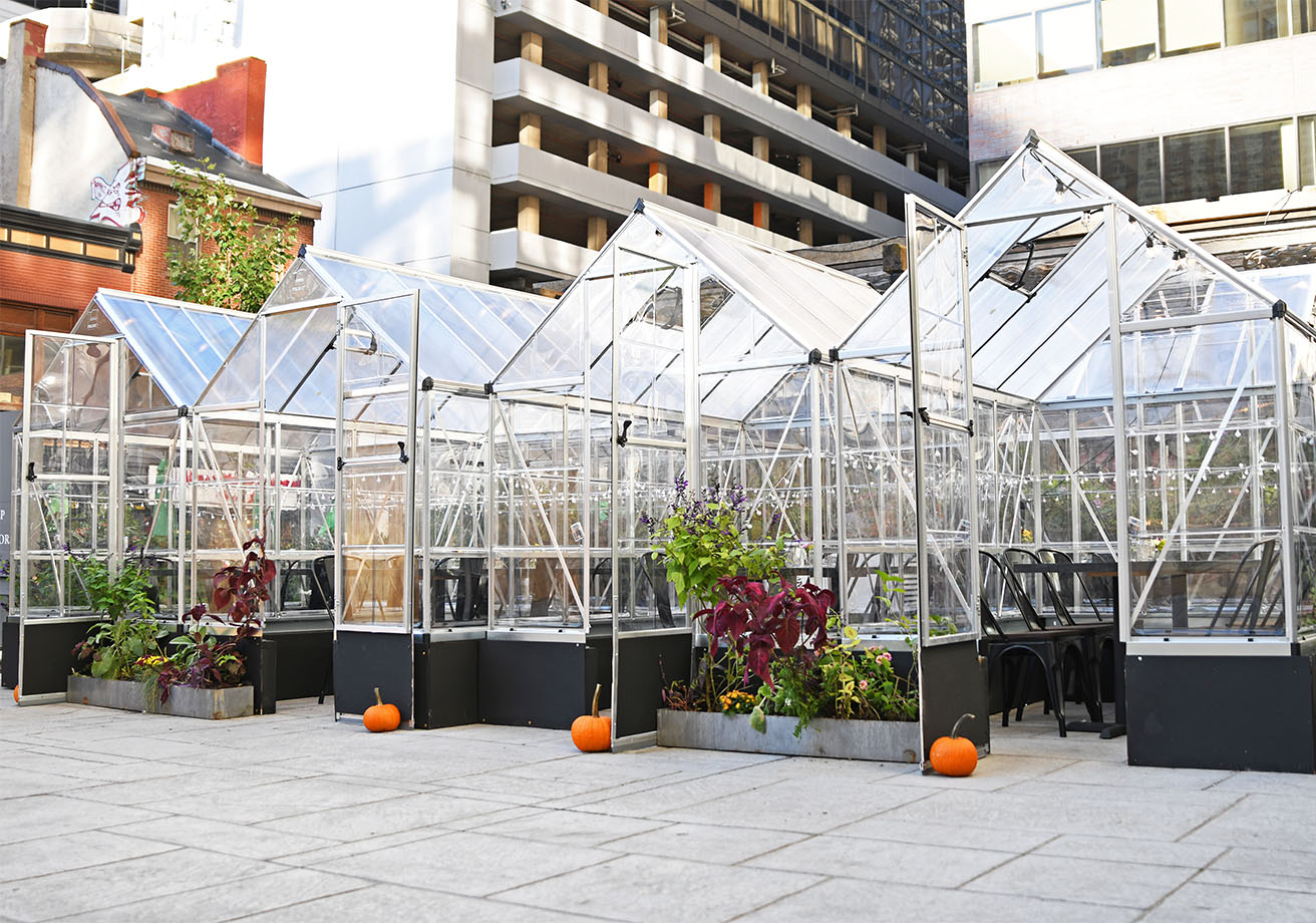 Glass greenhouses with dining tables inside.
