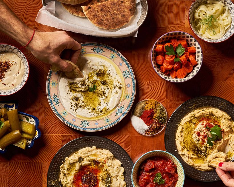A spread of Israeli dishes