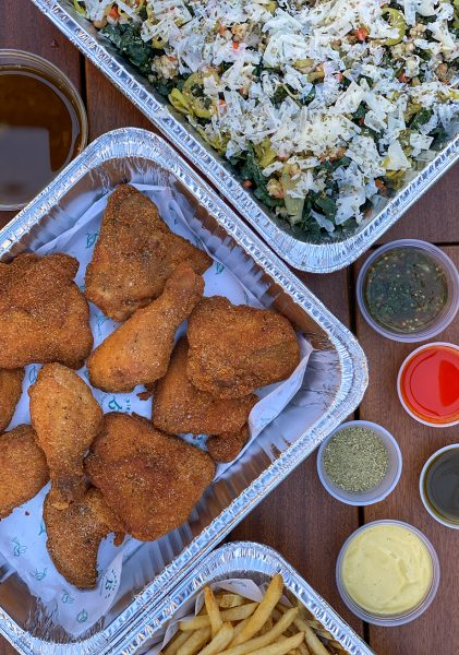 Takeout fried chicken in a tray