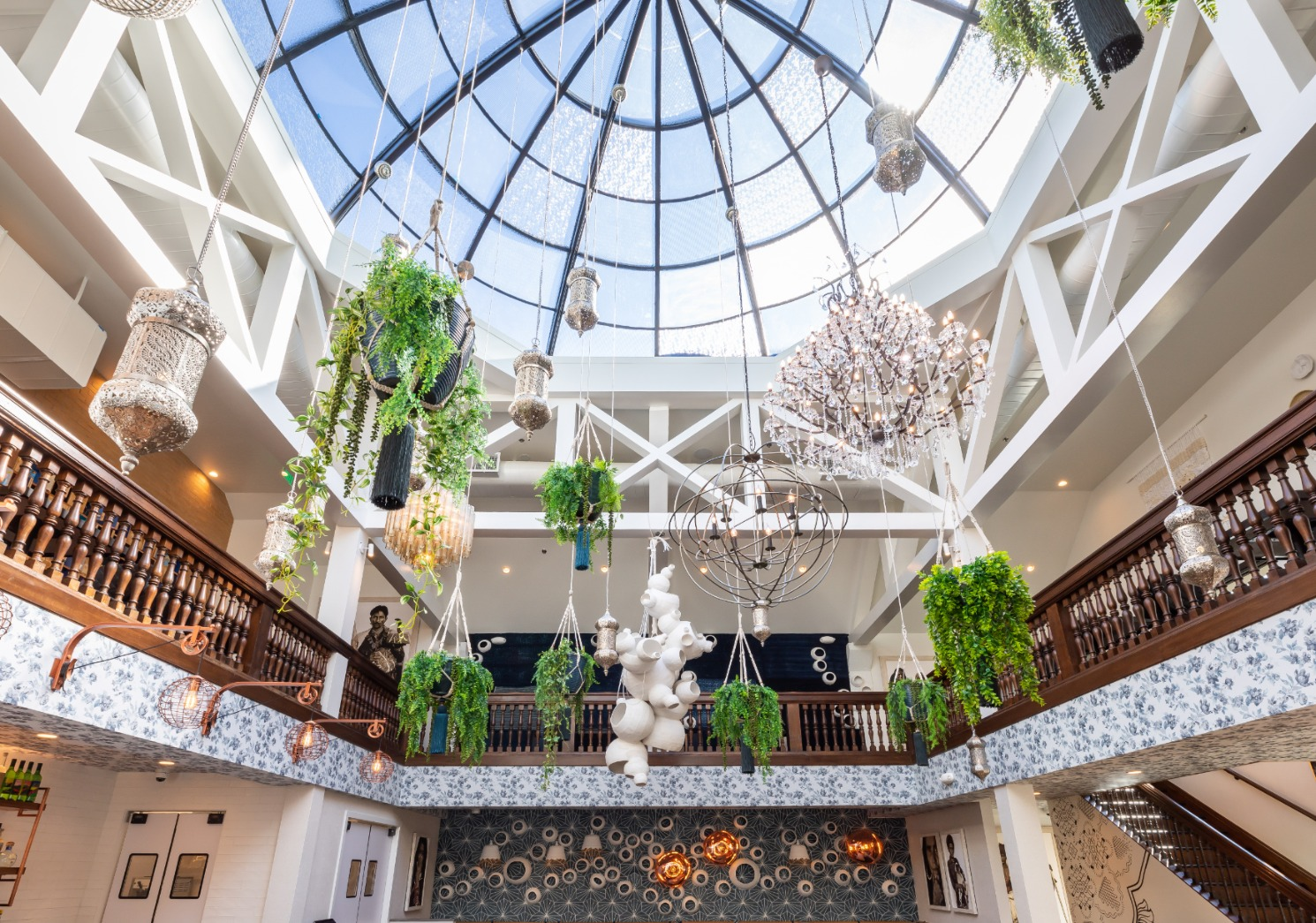 Skylight with hanging plants and chandelier