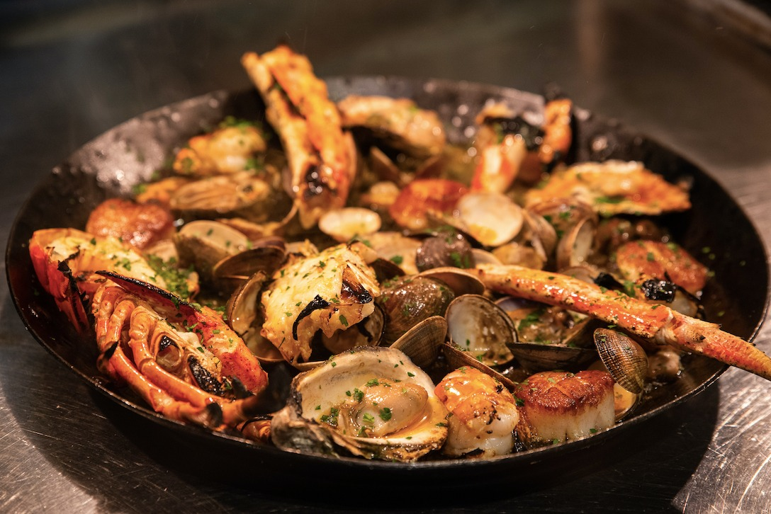 Fire roasted seafood tower