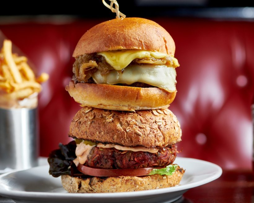 Two burgers stacked